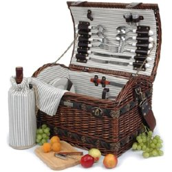 Picnic Beyond Wicker & Wood Picnic Basket For 4 Pb1-3383A 32Pcs Dar Brown Color Wine Bag Cheese Sets