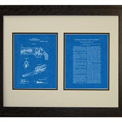 "Knife Attachment For Revolvers Patent Art Blueprint Print In A Rustic Oak Wood Frame (16"" X 20"")"