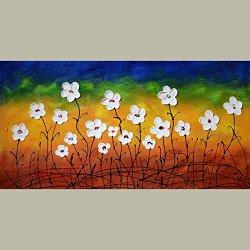 Palette Knife Fine Art Painting On Canvas,Modern Wall Art Summer Flower 12X18 In/30X45Cm Unframed