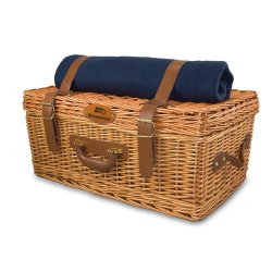 Exclusive By Picnictime Windsor Traditional English-Style Picnic Basket/ Navy With Plaid-Seattle Seahawks (Engraved)