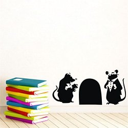 """15.7"""" X 31.5"""" Banksy Two Rats With Mouse Hole Mouse Rat Hole Wall Decals Removable Vinyl Wall Decor Mural Art Room Home Decor Art"""