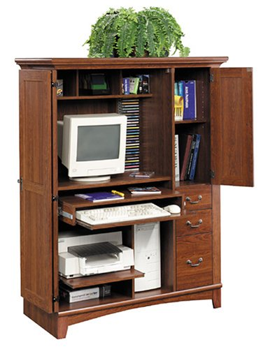 Picture of Comfortable Sauder(R) Planked Cherry Computer Armoire (B00006RSRG) (Computer Armoires)