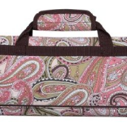Messermeister 8-Pocket Padded Knife Roll, Pink Paisley