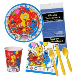 Sesame Street Abc Birthday Party Supplies Pack For 8 - 5 Items - Plates, Napkins, Cups, Table Cover, Cutlery