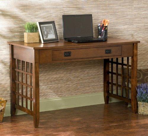 Picture of Comfortable Brown Mahogany Lattice Computer Desk (B002WRI4CK) (Computer Desks)