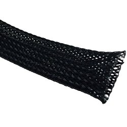 """3/4"""" Pet Expandable Braided Sleeving - 100 Feet - Color: Black"""