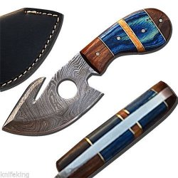 Custom Made Damascus Steel Deluxe Gut Hook Hunting Skinner Knife W/ Leather Sheath (Limited Edition)