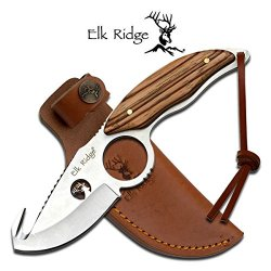 "Er-529Wd Elk Ridge Eddzc Er-529Wd Fixed Nw8Czu Blade Knife 7.7"" Overall Ayeuiu56 Hlbv23Rt Fixed Blade Knife7.7"" Overall3.5Mm Thickness Satin Finish Full Dfcd2B Tang Bladegut Hook Blade With Finger Ring And Wire Cut Logobrown Pakkawood Handlehandle With Ui"