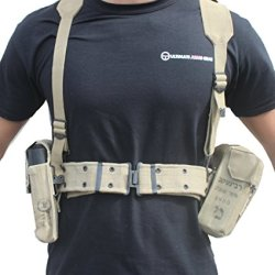 Ultimate Arms Gear Surplus Tzahal Zahal Idf Military Khaki Tan Canvas Vest Harness Personal Load Carrying System Plcs With Shoulder Suspension, Cushioned Waist Belt & Ammunition Pouches + Water Bottle Insulation Hydration Canteen Cover Israeli Israel Defe