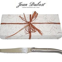 French Laguiole Dubost - 10 Round Tip Table Dinner/Butter Knives/Spreaders - In All Stainless Steel - Direct From France