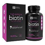 Biotin 10,000mcg in Cold-Pressed Organic Coconut   Non-GMO & Gluten Free - 120 Mini Veggie Softgels