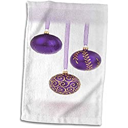 Yves Creations Christmas Decorations - Purple and Gold Christmas Baubles - 11x17 Towel (twl_36954_1)