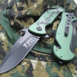 New Tac-Force Assisted Opening Linerlock Green & Black Biohazard Symbol Design A/O Speed Rescue Glass Breaker Knife