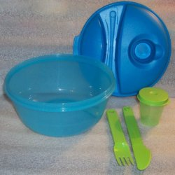 Tupperware Salad-To-Go Lunch Set, Bowl, Utensils, Dressing Container, Blue