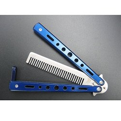 Metal Practice Butterfly Comb Style Knife Trainer Blue