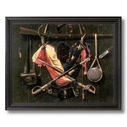 Civil War Flag Knife Rifle Sword Hat Picture Black Framed Art Print