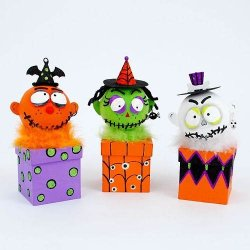 Ghoul Box Figurines Skull Witch Pumpkin Head Halloween