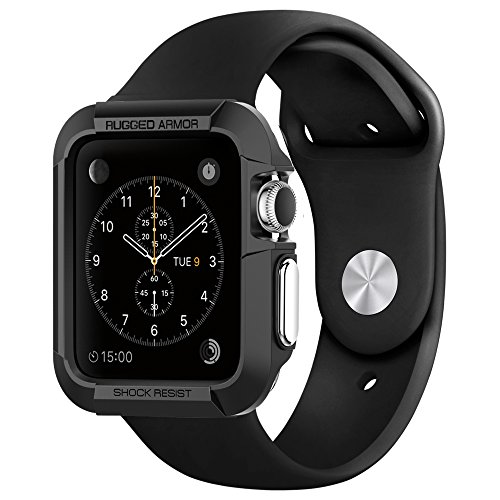 Apple-Watch-Case-Spigen-Rugged-Armor-Resilient-Black-Include-2-Screen-Protectors-Ultimate-protection-from-drops-and-impacts-for-Apple-Watch-42mm-2015-Black-SGP11496