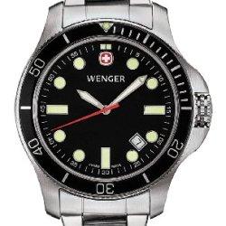 Wenger Men'S 72326 Battalion Iii Diver Black Dial Steel Bracelet Watch