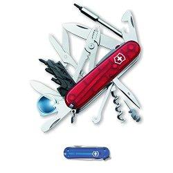 Victorinox Cybertool Lite Multi-Tool (Translucent Ruby) And Victorinox Swiss Army Classic Sd Pocket Knife (Translucent Sapphire)