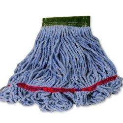 "Rubbermaid Commercial Fgc15206 Swinger Loop Wet Mop, Medium, 5"" Green Headband, Blue"