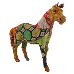 Vintage Sari Fabric Decorated Paper Mache Rhino Sculpture 11 In.