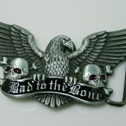 Brand:E&B New 3D Bad To The Bone Enameled Eagle Skulls Belt Buckle 3D-042