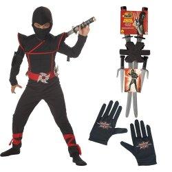 Stealth Ninja Costume With Gloves, Dragon Ninja Weapon Backpack, Husky (10-12)