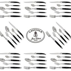 French Laguiole Dubost - Black Color - Complete 40 Pcs Flatware Set - Sharp Stainless Steel Blade (Full Family Quality Dark Colour Dinner Table Cutlery Setting For 8 People - Direct From France)