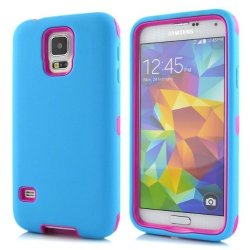 Queens® Silicone Shockproof Case Cover For Samsung Galaxy S5 I9600- Three Layer (3 In 1)Hard Plastic Pc And Soft Silicone Hybrid Defender Shockproof Robot Hybrid Case Cover For Samsung Galaxy S5 I9600 With Clearly Screen Protecotor (7-Blue/Hot Pink Queens