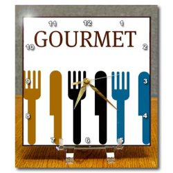 Dc_44687_1 Patricia Sanders Creations - Gourmet Fork And Knife- Dining- Dinner Art - Desk Clocks - 6X6 Desk Clock