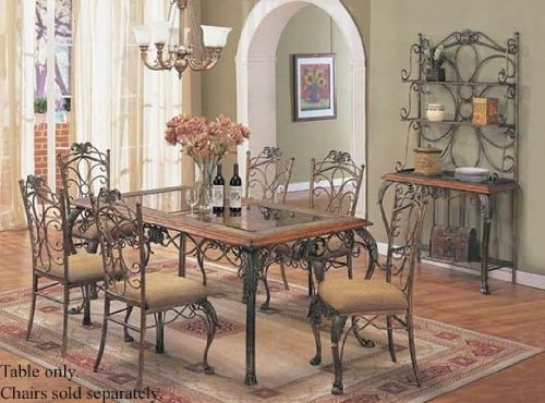Image of Dining Table with Stone Trim Glass Top (VF_AM8355)