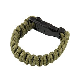 "{Factory Direct Sale} 9"" Survival Paracord Bracelet Flint Fire Starter Scraper Whistle Buckle Gear Kits Tool Multifuction Outdoor Camping Hunting -- Green"