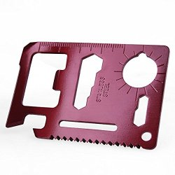 Brand New Mini Claret Red Can Opener Multipurpose Pocket Survival Tool Card 11 Function Stainless Steel