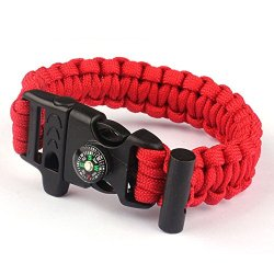 Suppion The Friendly Adjustable Premium Paracord Bracelet With Fire Starter (Red)
