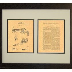 "Knife Attachment For Revolvers Patent Art Print In A Rustic Oak Wood Frame (16"" X 20"")"