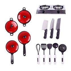 Set Kids Child Children Pretend Play Education Learn Kitchen Cookware Pot Pan Knife Toy