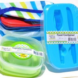 Set Of 3 Lunch Boxes Reusable Bento Like Boxes Containers With Lids With Insulated Lunch Box Cooler Bag