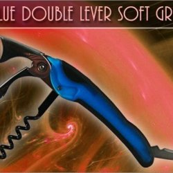 Corkscrew - Double Lever Soft Grip - Blue