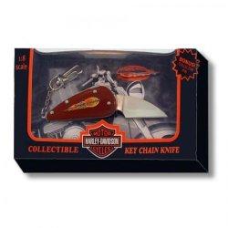 Harley Davidson Pocket Knife Red Flame Key Chain New