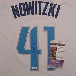 Dirk Nowitzki Dallas Mavericks Autographed White Christmas Day #41 Jersey Jsa Coa