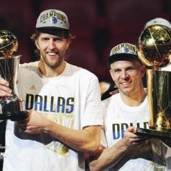 All About Autographs Aaa-11595 Dirk Nowitzki And Jason Kidd Dallas Mavericks Nba 8X10 Photograph Nba Finals Champs With Trophies