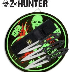 Zombie Z-Hunter 3 Pc Thowing Knives With Target Board Combo