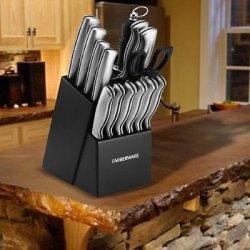 New Farberware Stamped 15 Piece Cutlery Set & Kitchen Knife Block -Black
