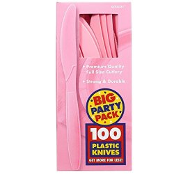 Amscan New Pink Big Party Pack Knives (100)