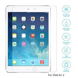 Boriyuan Ipad Air 2 Screen Protector, [Tempered Glass Protection] Ultra Slim Crystal Clear Premium Tempered Glass Screen Protector For Apple Ipad Air 2 Ipad 6/ Ipad Air Ipad 5 - Brand New In Retail Package, Comes With A Micro Fiber Cleaning Cloth + An Alc