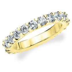 18K Yellow Gold Diamond Knife Edge Eternity Band (5.0 Cttw, F-G Color, Vvs1-Vvs2 Clarity) Size 10