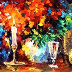 Romantic Table Modern Canvas Art Wall Decor Palette Knife Oil Painting Wall Art 16 X 40 In Unframed