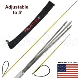 Scuba Choice 7' Travel Spearfishing 3-Piece Pole Spear 3 Prong Barb Paralyzer Tip Adjustable To 5' With Bag