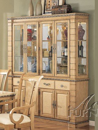 Image of China Cabinet Buffet Hutch Light Maple Finish (VF_AM8769)
